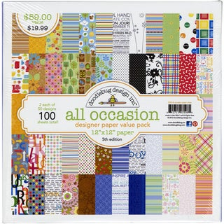 "Doodlebug Value Pack Pattern Paper 12""X12"" 100/Sheets-All Occasion - 50 Designs/2 Each"