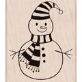 Hero Arts Mounted Rubber Stamps-Striped Scarf Snowman