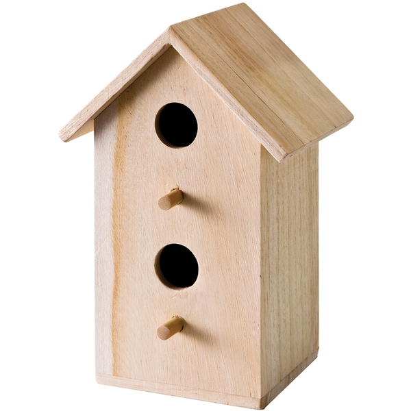 "Wood Tall Rectangle Bird House 6""X9""X4-3/4""-"