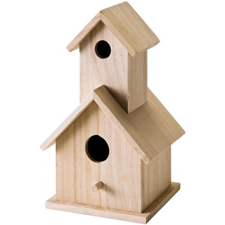 Wood Two Story Birdhouse 5-1/2