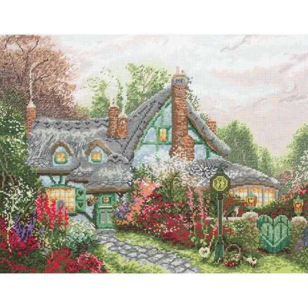 "Thomas Kinkade Sweetheart Cottage Counted Cross Stitch Kit-9-3/4""X12-3/4"" 18 Count"