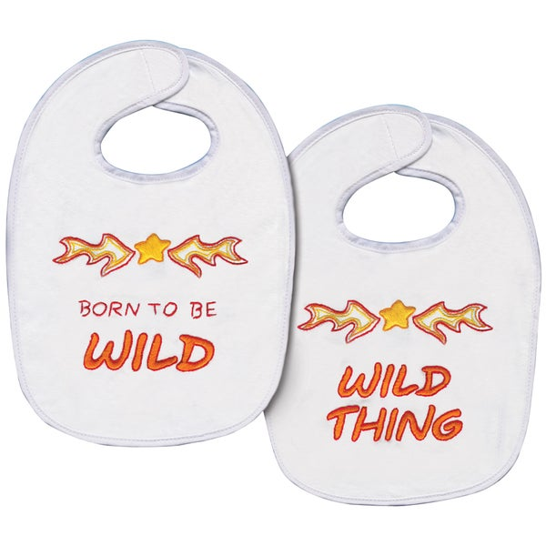 "Born To Be Wild Bib Pair Stamped Cross Stitch Kit-7-1/2""X11"" Set Of 2"