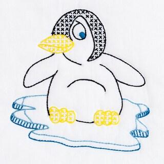 """Stamped White Quilt Blocks 9""""X9"""" 12/Pkg-Penguin"""