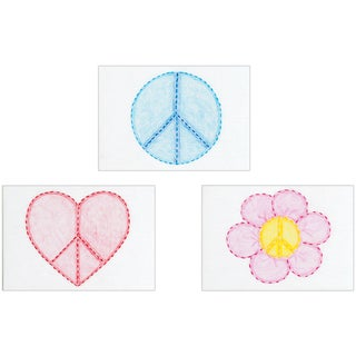 "Stamped Embroidery Kit Beginner Samplers 6""X8"" 3/Pkg-Peace Signs"