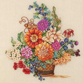 "Heirloom Collection Fall Floral Counted Cross Stitch Kit-13""X14-1/4"" 28 Count"