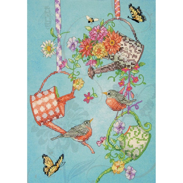 "Blooming Watering Cans Stamped Cross Stitch Kit-10""X14"""