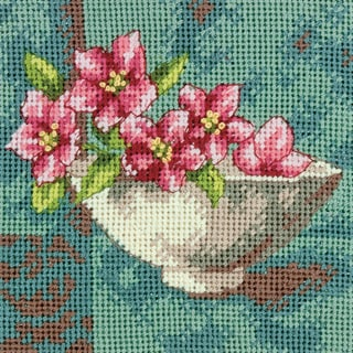 "Dogwood Blossom Mini Needlepoint Kit-5""X5"" Stitched In Thread"