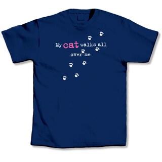 Blue 'My Cat Walks All Over Me' T-shirt
