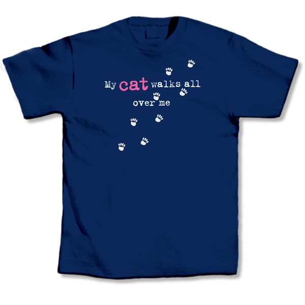 Blue 'My Cat Walks All Over Me' T-shirt
