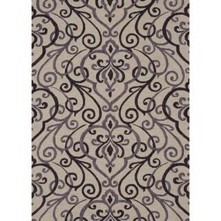 Hand-hooked Charlotte Ivory/ Grey Rug (7'6 x 9'6)