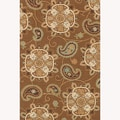 Hand-hooked Fandango Light Brown Rug (7'6 x 9'6)