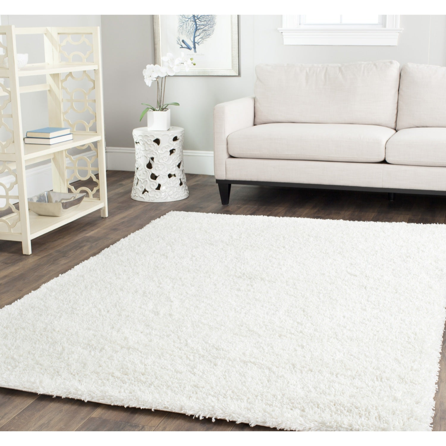 Safavieh cozy solid white shag rug overstock shopping for 10x14 bedroom