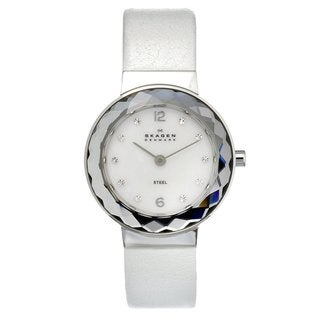Skagen Women's Stainless Steel Glitz Watch with White Leather Strap