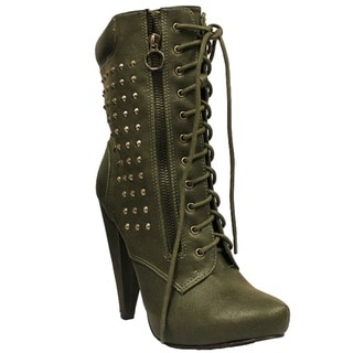 Toi et Moi Women's 'Maquis-05' Khaki Military Style Lace-up Boots