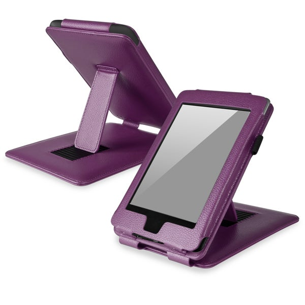 BasAcc Purple Leather Case with Stand for Amazon Kindle Paperwhite
