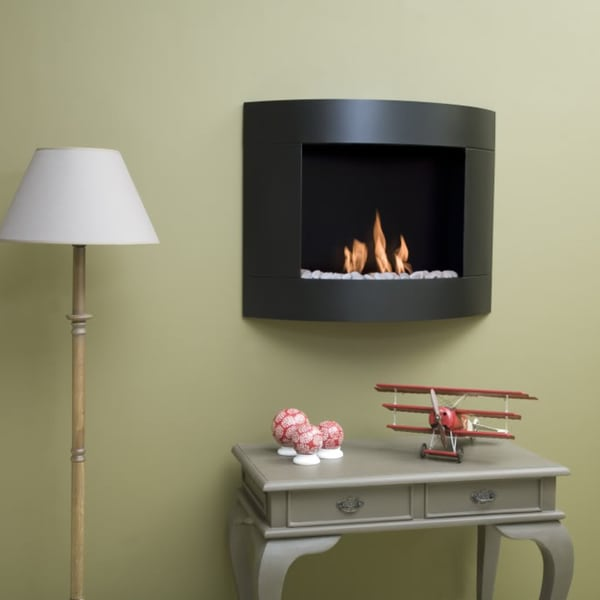 Bio-Blaze Diamond I Bio Ethanol Black Wall-mounted Fireplace