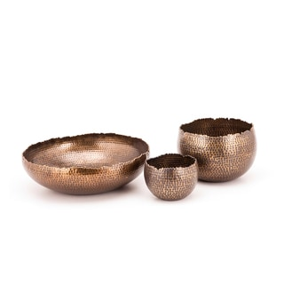 Jagged Edges Antique Brass Bowl Set