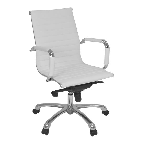 Regency Seating Solace White Leather Swivel Office Chair