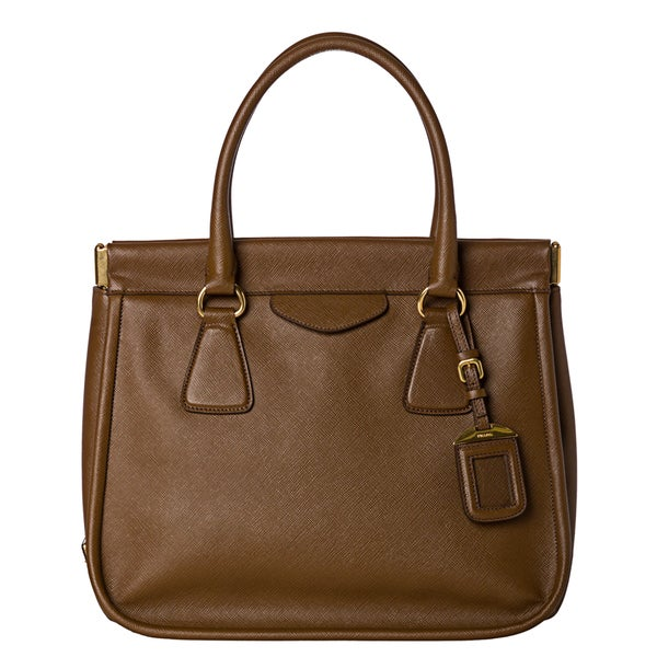 Prada 'Lux' Tobacco Saffiano Leather Satchel Handbag