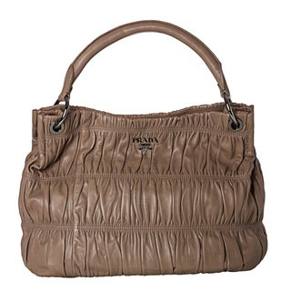 Prada 'Gaufre' Taupe Nappa Leather Hobo Bag
