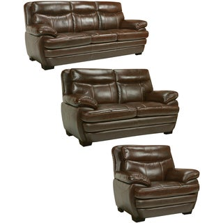 Storm Walnut Brown Italian Leather Sofa, Loveseat and Chair