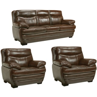 Storm Walnut Brown Italian Leather Sofa and Two Chairs