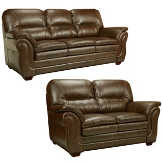 Hillside Chocolate Brown Italian Leather Sofa and Loveseat
