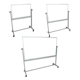 Luxor Mobile White Double Sided Reversible Dry-Erase Adjustable Magnetic Whiteboard Easel