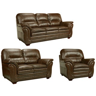 Hillside Chocolate Brown Italian Leather Sofa, Loveseat and Chair