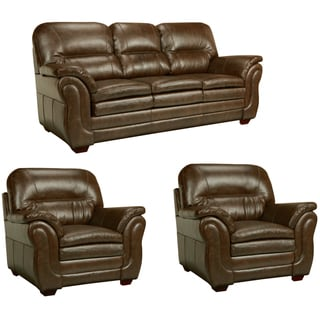 Hillside Chocolate Brown Italian Leather Sofa and Two Chairs