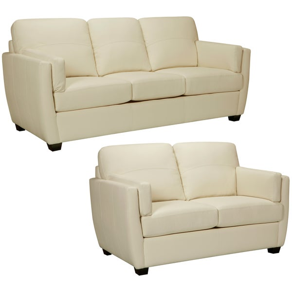 Hamilton Ivory Italian Leather Sofa And Loveseat 14955543 Shopping Big