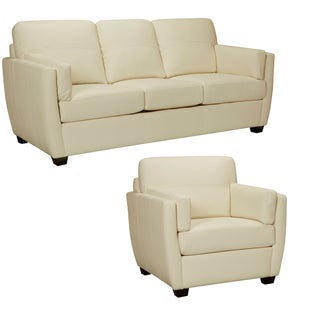 Hamilton Ivory Italian Leather Sofa and Chair