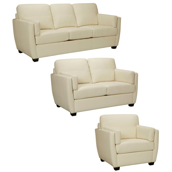 Hamilton Ivory Italian Leather Sofa, Loveseat and Chair