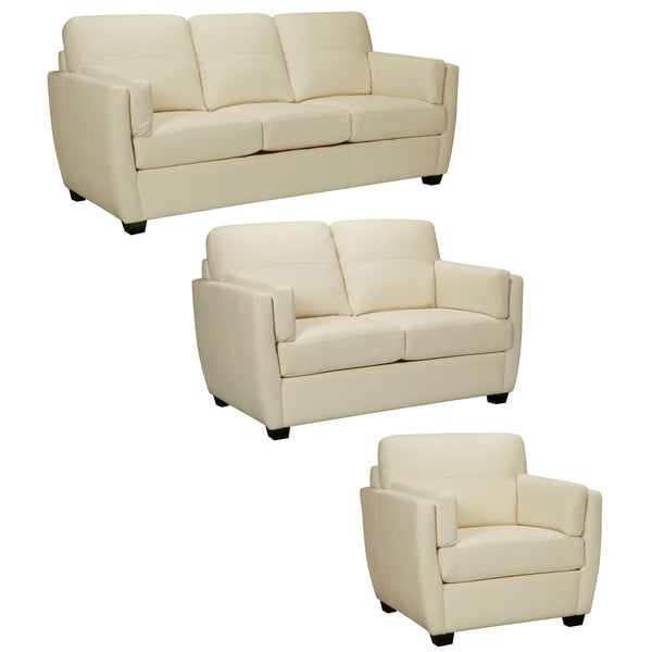 Hamilton Ivory Italian Leather Sofa, Loveseat and Chair
