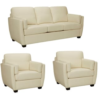 Hamilton Ivory Italian Leather Sofa and Two Chairs