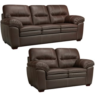 Hawkins Java Brown Italian Leather Sofa and Loveseat
