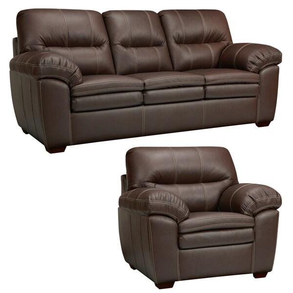Hawkins Java Brown Italian Leather Sofa and Chair