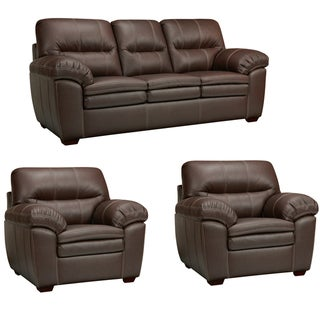 Hawkins Java Brown Italian Leather Sofa and Two Chairs