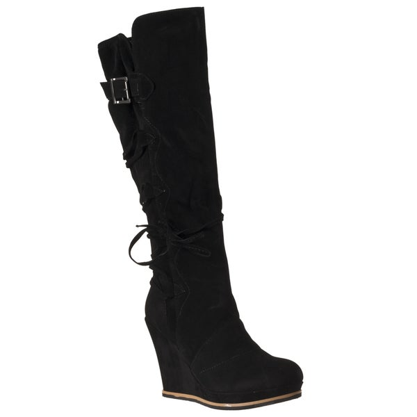 Riverberry Women's 'Chandler' Black Wedged Boots