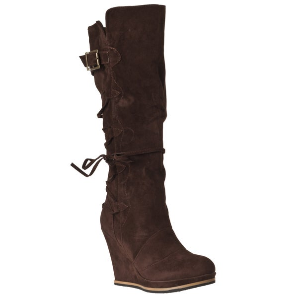 Riverberry Women's 'Chandler' Brown Wedged Boots