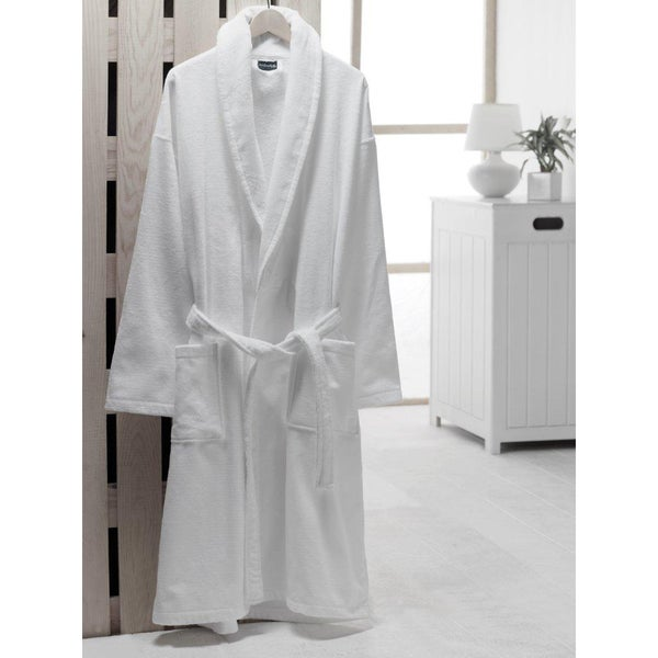 Salbakos Velour Shawl Collar Turkish Cotton Bath Robe