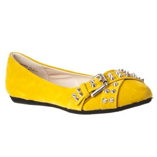 Riverberry Women's 'Jayden' Mustard Studded Flats