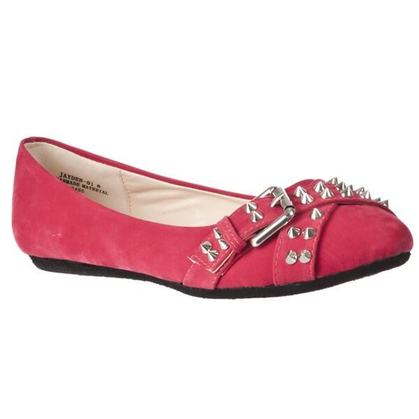 Riverberry Women's 'Jayden' Red Studded Microsuede Flats