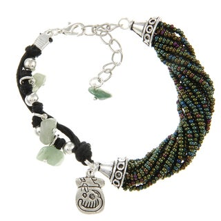 Green Beaded Leather Mayan Charm Bracelet (Guatemala)
