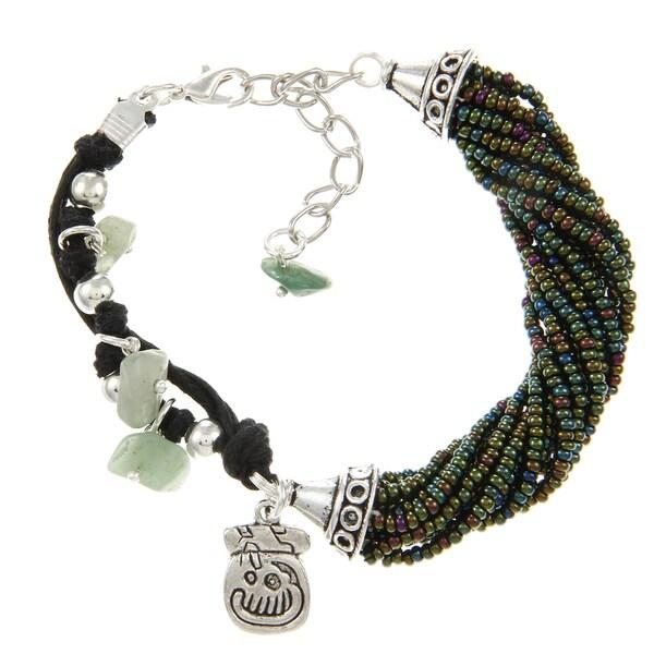 Green Beaded Leather Mayan Charm Bracelet (Guatemala)