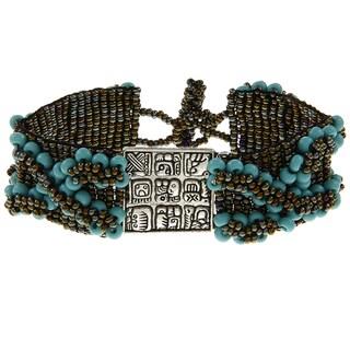 Wide Beaded Mayan Charm Bracelet (Guatemala)