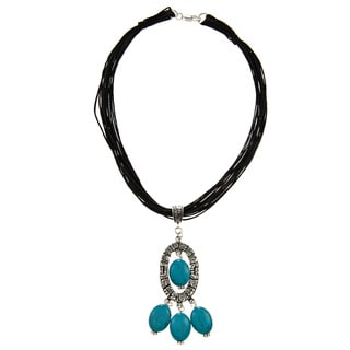 Leather Turquoise Mayan Charm Necklace (Guatemala)