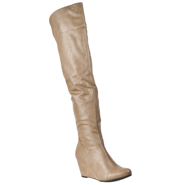 Riverberry Women's 'Tarrin' Taupe Over-ther-knee Wedge Heel Boots
