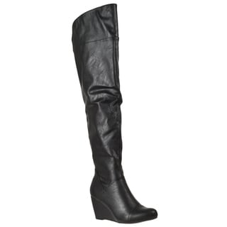 Riverberry Women's 'Tarrin' Black Over-ther-knee Wedge Heel Boots