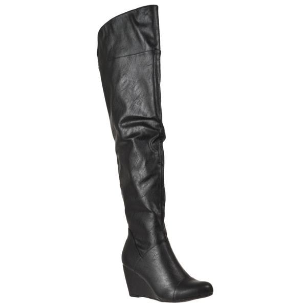 Riverberry Women's 'Tarrin' Black Over-ther-knee Wedge Heel Boots